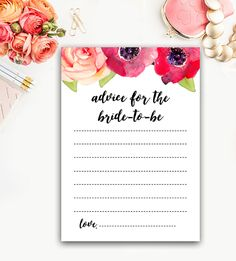 Advice for the Bride - Bridal Shower Activity - Watercolor Flowers – Instant Download Printable