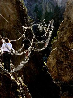 Tibetan bridge in Piedmont, Italy.