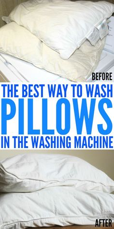 Learn the best way to wash pillows in the washing machine. Get your pillows looking and smelling like new in no time flat. Deep Cleaning Tips, House Cleaning Tips, Cleaning Solutions, Spring Cleaning, Cleaning Hacks, Cleaning Products, Cleaning Pillows, Mattress Cleaning, How To Clean Pillows