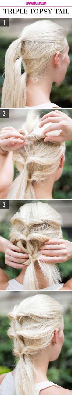 TRIPLE TOPSY TAIL: Create this look in minutes by using clear elastic bands to pull hair back into three ponytails, one on top of the other. Then flip the tail ends up, tuck them in between the elastic bands and your head, pull the ponytail through, and finish by tucking the tail into the ponytails below. Find the full instructions and 15 more super easy hairstyles, here!