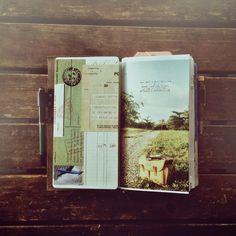 Midori Traveler's Notebook ~ Getting ready to go. Scrapbook Journal, Travel Scrapbook, Journal Notebook, Journal Pages, Notebook Ideas, Jm Barrie, Travel Album, Art Journal Inspiration, Layout Inspiration