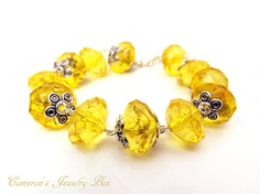 Yellow Beaded Bracelet Sunny Yellow Wire by CameronsJewelryBox