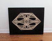 Black and White String Art - 1960s Mid Century Mod Geometric Wall Hanging