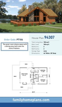 Cabin Style House Plan 94307 with 2 Bed, 2 Bath Cabin House Plan 94307 Cabin House Plans, Cabin Floor Plans, Tiny House Cabin, Log Cabin Homes, Tiny House Design, Small House Plans, The Plan, How To Plan, A Frame House