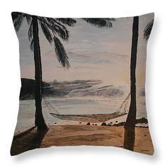 "Relaxing at the Beach Throw Pillow 14"" x 14"""