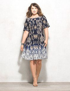 cd5dc4495b0c7 Plus Size Abstract Print Scuba Fit-and-Flare Dress Blue Wedding Dresses