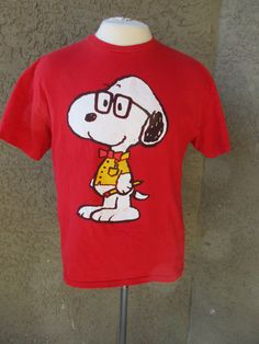 Red Snoopy Nerd T-Shirt Bow Tie Geek Glasses by GeekGirlRetro