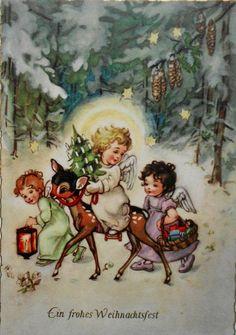 Best home sweet hom printable vintage merry christmas 24 Ideas Christmas 24, Merry Christmas Card, Vintage Christmas Cards, Christmas Angels, Vintage Cards, Holiday Cards, Christmas Crafts, Christmas Decorations, Bambi