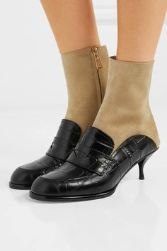 Heel measures approximately 2 inches Black croc-effect leather, beige suede Zip fastening along side Made in ItalyLarge to size. See Size & Fit notes. Suede Ankle Boots, Black Ankle Boots, The Chic, Crocs, Loafers Men, Kitten Heels, Oxford Shoes, Dress Shoes, Slip On