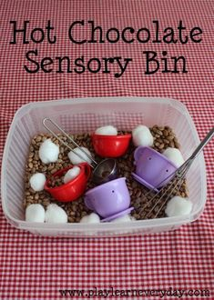 Chocolate Sensory Bin A fun hot chocolate themed sensory bin for young children to explore different scents and textures.A fun hot chocolate themed sensory bin for young children to explore different scents and textures. Sensory Tubs, Sensory Boxes, Sensory Play, Sensory Diet, Toddler Sensory Bins, Fall Sensory Bin, Baby Sensory, Toddler Play, Toddler Learning