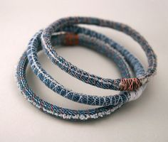 3 three upcycled denim bracelets  repurposed jean by amberhlynn, $10.00