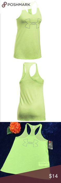 Women's Under Armour Big Logo Graphic Tank Sz M Women's Under Armour Big Logo Graphic Tank Sz M Very soft and cozy tank)) PRODUCT FEATURES Incredibly soft cotton & modal construction feels amazing next to skin Signature Moisture Transport System wicks sweat to keep you dry & light Skinny racer back for unrivaled mobility FABRIC & CARE Cotton, polyester, modal Machine wash Imported Under Armour Tops Tank Tops