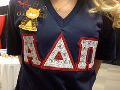 Ronald McDonald House stitch letters are perfect for philanthropy events and/or round of recruitment! These were ordered from JennaBenna & Co. *Also, notice Alphie's mane on the nametag is made from poptabs--great conversation starter!