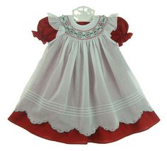 NEW Will'Beth Red Dress in Short Sleeves or Long Sleeves and White Smocked Pinafore with Scalloped Hem $70.00