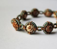 Hand Beaded Bracelet Antique Agate with bronze by pjlacasse, $75.00