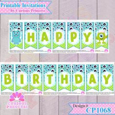 Monsters University inc PRINTABLE Happy Birthday by CuriousPrincessDIS, $5.99 banner bunting party supplies decorations ideas cute 1st first sulley mike wasowski monster candy buffet decor by www.CuriousPrincess.com