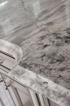 Super White Quartzite with large ogee edge Countertop. Super White Quartzite with large ogee edge Countertop. Granite Edges, White Granite Countertops, Quartzite Countertops, Concrete Countertops, Cement Counter, Brown Granite, Super White Granite, Super White Quartzite, Home Design