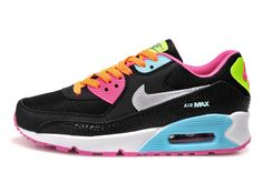 5914c2d077 Nike Air Max 90 2007 (GS) 345017-063 women's shoes - Black/Metallic Silver/Red  Volt