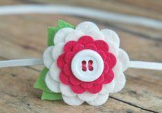 White and Fuchsia Scallop Flower  Felt Flower Headband  by bloomz, $6.50