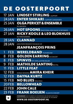Alle concerten van januari en februari op een rijtje!
