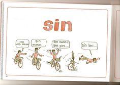 """Ficha para aprender el uso de la preposición """"sin""""."""
