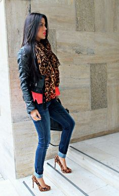 leather animal print and jeans outfit