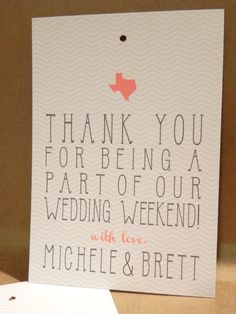 Welcome Tag / Weekend Basket / Wedding / Favor / Thank you / Reception /Chevron / Custom Country Texas / State Hang Tag by Darby Cards