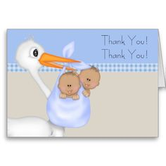 Twin boy thank you cards. Stork baby thank you cards. African American baby shower thank you cards. Twin boy thank you cards. Ethnic baby shower thank you cards. Boy twin thank you cards.