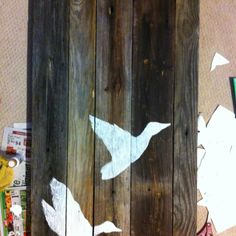 Old barn wood art for guest bedroom. It's a duck themed more masculine room.