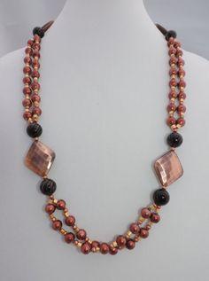 Double strand bronze beaded necklace