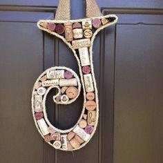 The Letter J Wine Cork Door Monogram by TrueVineGifts on Etsy