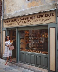 A Francophile. rises in the morning and heads straight to this gorgeous Boulangerie, for the freshest croissants + baguettes straight out of the oven Rosie Londoner, Rhine River Cruise, Bakery Store, Shop Fronts, Shops, Green Life, France Travel, Baguette, Early Bird