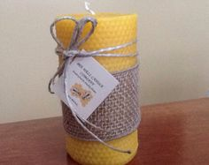 100% Pure Beeswax Honeycomb Textured Pillar Candle