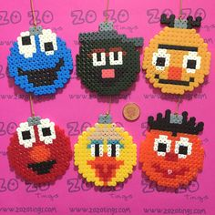 Sesame Street Christmas bauble set Hama perler beads by Zo Zo Tings