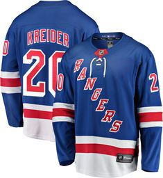 Jimmy Vesey New York Rangers Fanatics Branded Home Breakaway Player Jersey - Blue, Size: Medium New York Rangers, Jimmy Vesey, Brendan Smith, Kevin Hayes, Rangers Game, Henrik Lundqvist, Nhl News, Range Of Motion, Sweatshirts