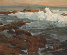 Waves Breaking Along A Rocky Coast By Edgar Payne . Truly Art Offers Giclee Unframed Prints on Paper, Canvas Art, and Framed Art in all our Collections. Gouache, Edgar Payne, Nautical Painting, Australian Painters, Oil Pastel Art, Artist Painting, Painting Tips, Landscape Artwork, Painting Wallpaper