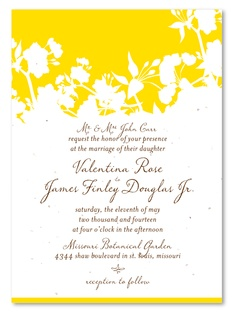Yellow Organic wedding invitations by ForeverFiances, on unique plantable paper, your guests can grow!