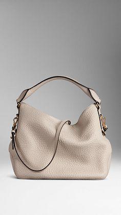 Small Heritage Grain Leather Hobo Bag   Burberry
