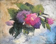 Floral Still Life Textured Oil Painting Daily by CarolSchiffStudio, $225.00