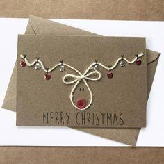 Rudolph Christmas, Christmas Fun, Childrens Christmas Card Ideas, Button Christmas Cards, Christmas Cards Handmade Kids, Creative Christmas Cards, Chrismas Cards, Christmas Card Designs, Simple Christmas Gifts