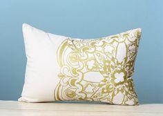 Gold Moroccan Linen Pillow Cover Decorative Cushion Throw Lumbar 12x16 Screen Print Pillow Art Modern Global Inspired