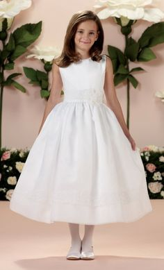 First Communion Dress with Banded Lace Appliques - White