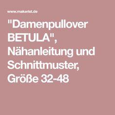 """Damenpullover BETULA"", Nähanleitung und Schnittmuster, Größe 32-48"