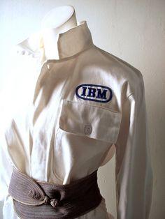 70s IBM computer tech jumpsuit - tech geek chic - Big Blue collectible - Mad Men era costume - white cotton w/logo