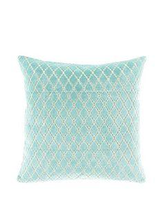 Surya Florence Broadhurst Velvet Antique Lattice Pillow, Mint/Ivory