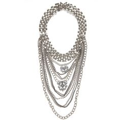 Oneida Layered Silver Chain Necklace (40 CAD) ❤ liked on Polyvore featuring jewelry, necklaces, silver, silver jewellery, multi layer chain necklace, chain collar necklace, multi layered necklace and chain jewelry