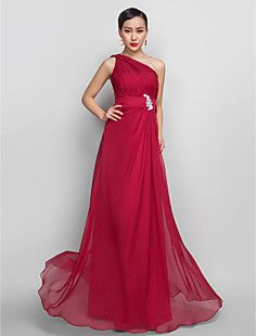 A-line One Shoulder Floor-length Chiffon Evening/Prom Dress ... – USD $ 149.99