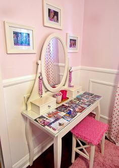 White Vanity with Covered Seat