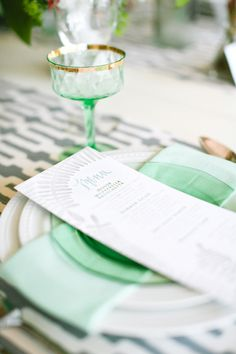 mint infused tablescape  Photography by heatherrothphotography.com, Planning by simplyandforever.com, menues by http://1canoe2.com/