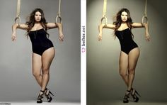 Model before and after photoshop